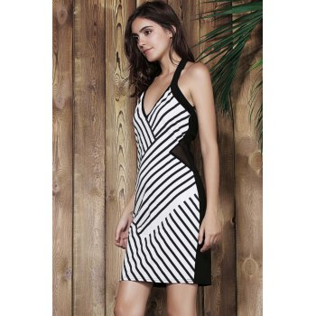 Alluring Halter Sleeveless Bodycon Striped Women Dress - BLACK ONE SIZE(FIT SIZE XS TO M)