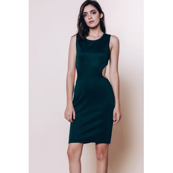 Alluring Scoop Neck Sleeveless Cut Out Solid Color Women's Dress - GREEN ONE SIZE(FIT SIZE XS TO M)