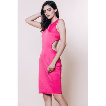 Alluring Scoop Neck Sleeveless Cut Out Solid Color Women's Dress - ROSE ONE SIZE(FIT SIZE XS TO M)