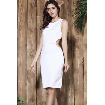 Alluring Scoop Neck Sleeveless Cut Out Solid Color Women's Dress - WHITE ONE SIZE(FIT SIZE XS TO M)