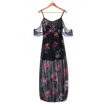 Stylish Spaghetti Strap Floral Off The Shoulder Women's Maxi Dress