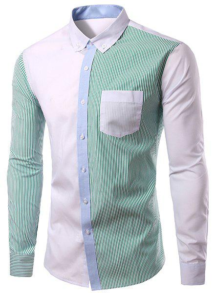 Casual Splicing Turn Down Collar Long Sleeves Shirt For Men - GREEN M