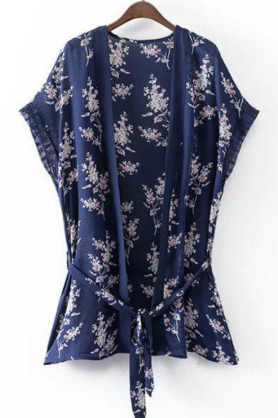 Vintage Style Women's Collarless Short Sleeves Floral Print Kimono - DEEP BLUE S