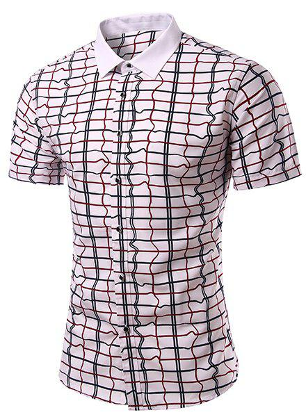 Fashion Turn Down Collar Checked Short Sleeves Shirt For Men - WHITE L