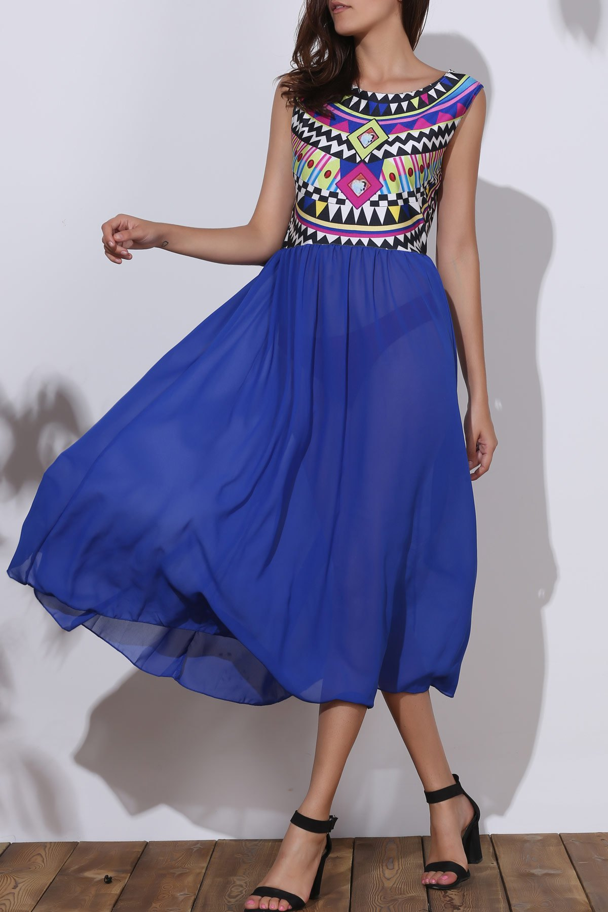Stylish Sleeveless Round Collar Geometric Print Chiffon Women's Tribal Dress - BLUE XL