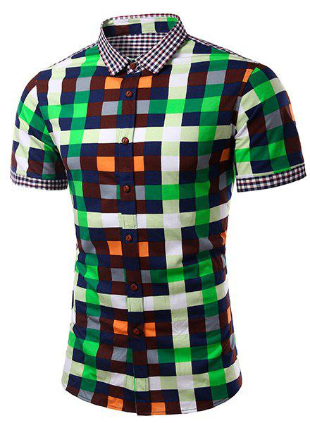 Fashion Turn Down Collar Splicing Checked Short Sleeves Shirt For Men - GREEN S