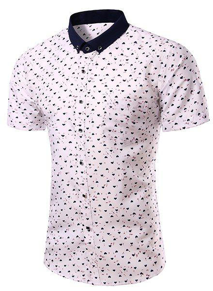 Fashion Turn Down Collar Heart Printing Short Sleeves Shirt For Men - WHITE S