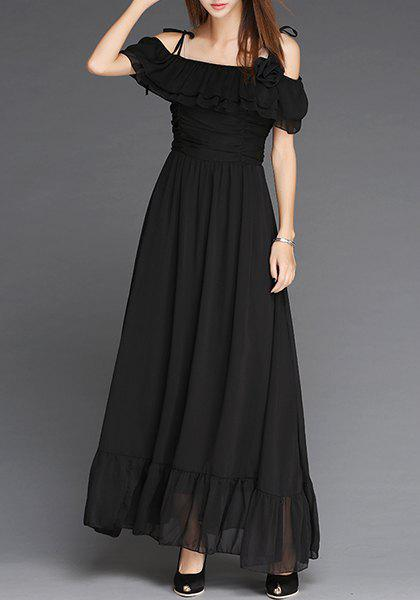Elegant Women's Off-The-Shoulder Flounce Pleated Short Sleeve Dress - L BLACK