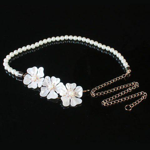 Chic Three Flowers Embellished Faux Pearl Women's Waist Chain -  WHITE