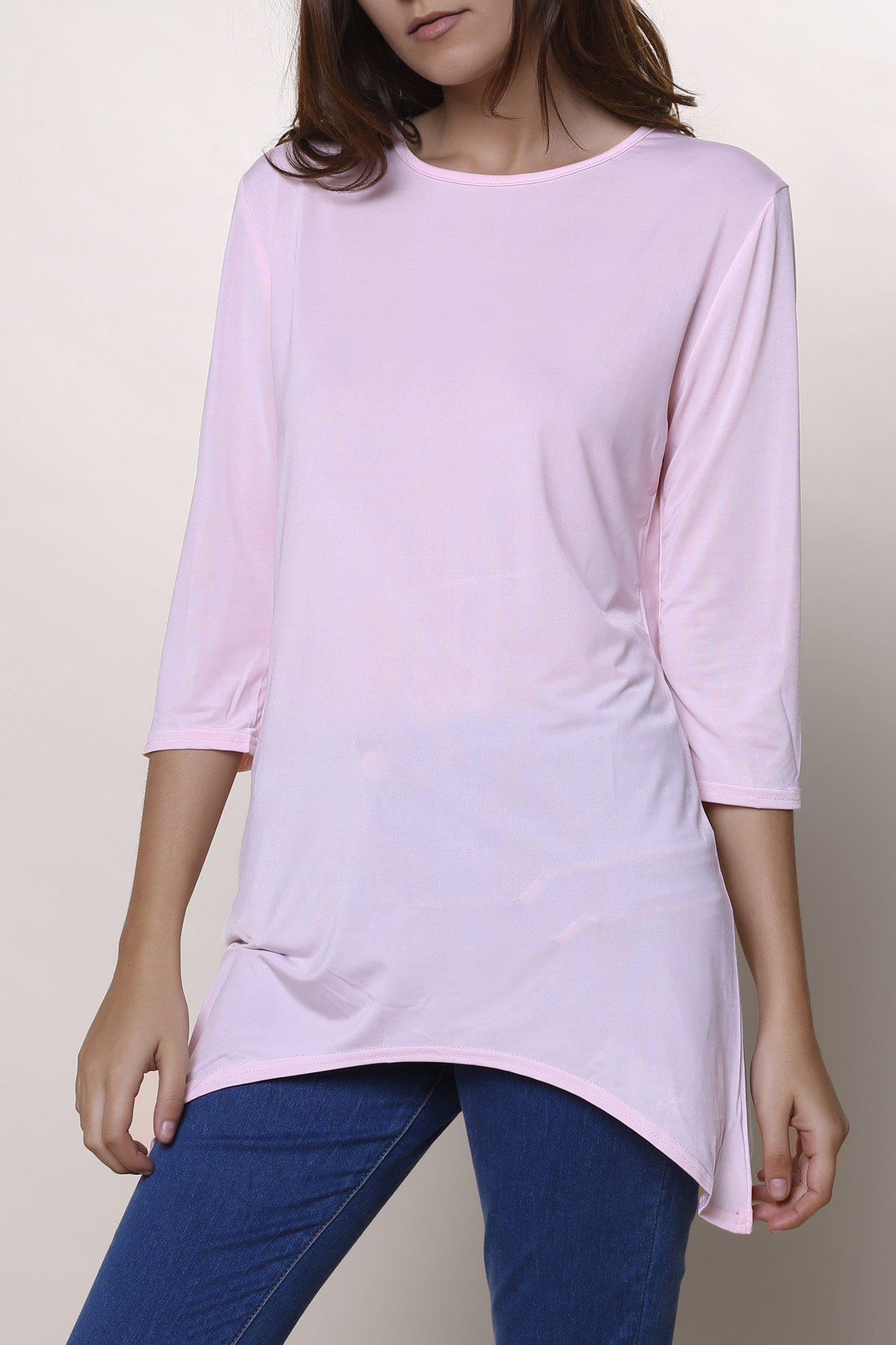 Sweet High Low Hem Round Neck Solid Color 3/4 Sleeve T-Shirt For Women - PINK S