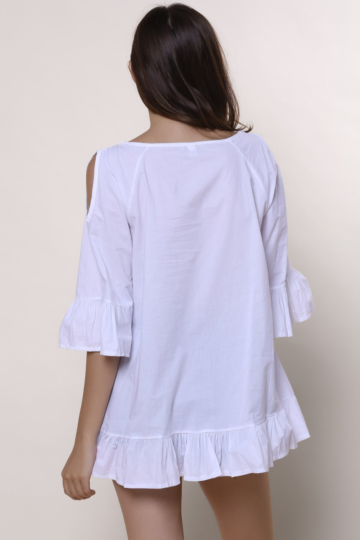 Sweet Solid Color Scoop Neck Ruffles 3/4 Sleeve Blouse For Women - WHITE 2XL