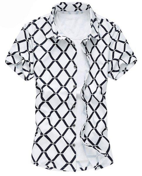 Plus Size Turn-Down Collar Short Sleeve Argyle Print Men's Shirt - WHITE L
