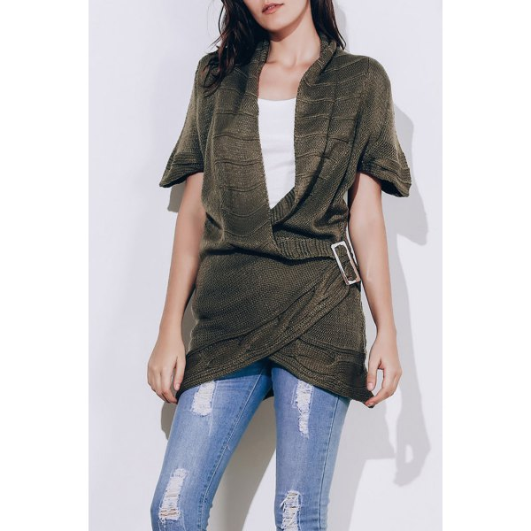 Elegant Shawl Collar Solid Color Short Sleeve Buckled Sweater Dress For Women - SAGE GREEN S