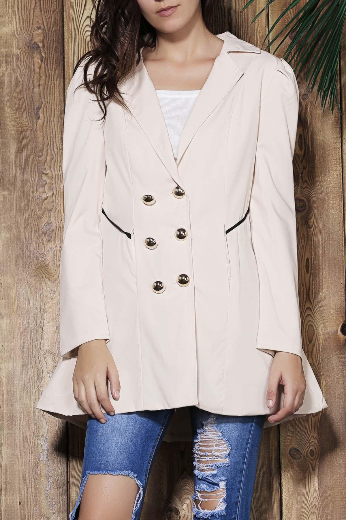 Elegant Double Breasted Turn-Down Collar Long Sleeve Trench Coat For Women elegant turn down collar double breasted long sleeve trench coat for women