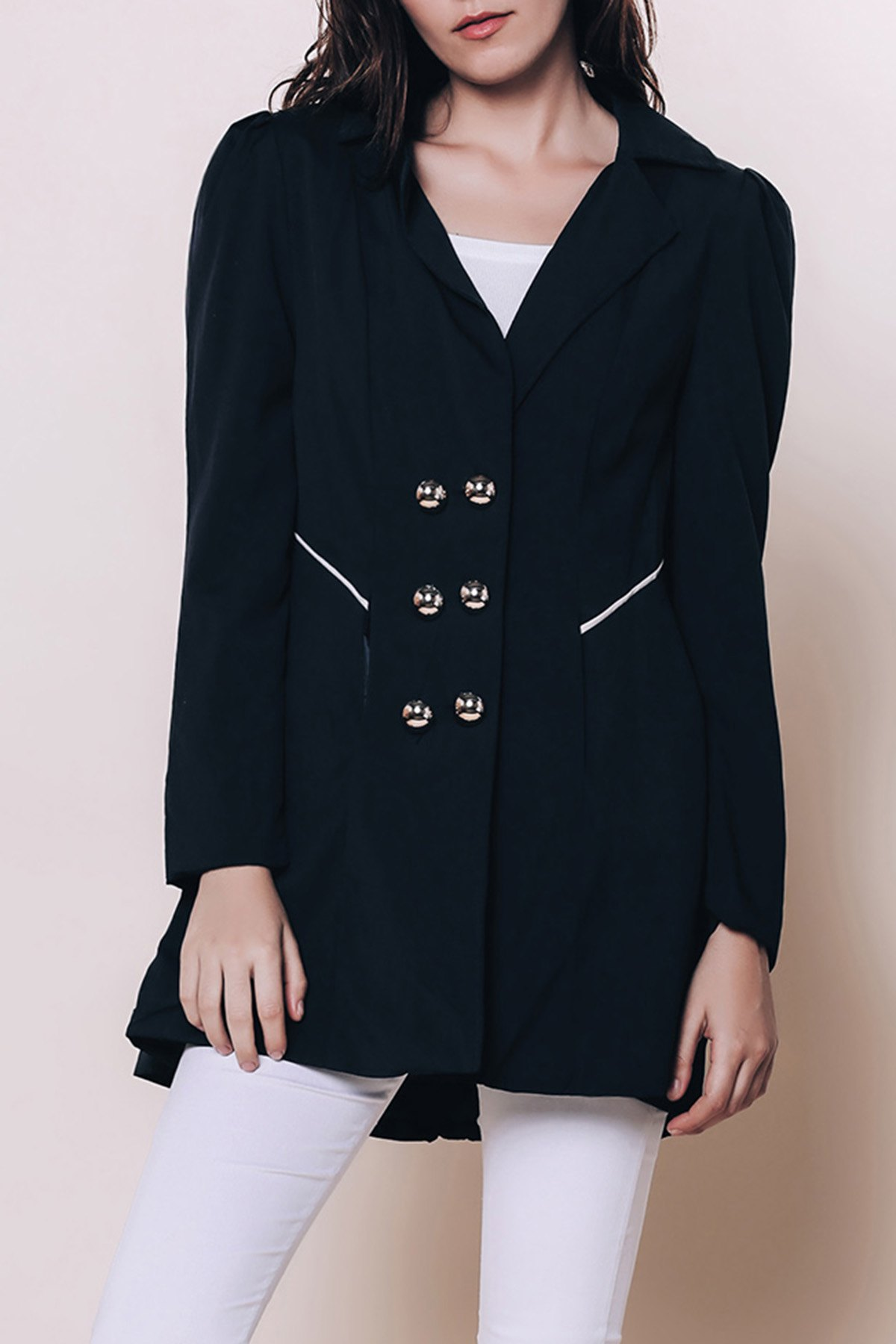 Elegant Double Breasted Turn-Down Collar Long Sleeve Trench Coat For WomenWomen<br><br><br>Size: 2XL<br>Color: BLUE