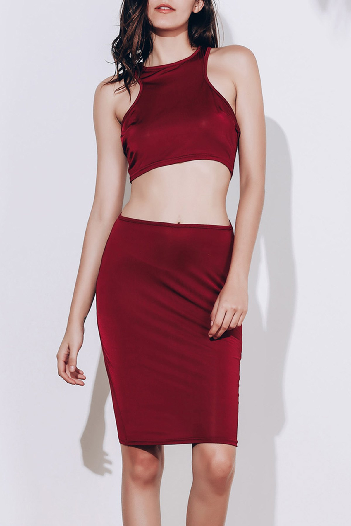 Alluring Sleeveless Round Neck Solid Color Crop Top + High-Waisted Skirt Women's Twinset - WINE RED S