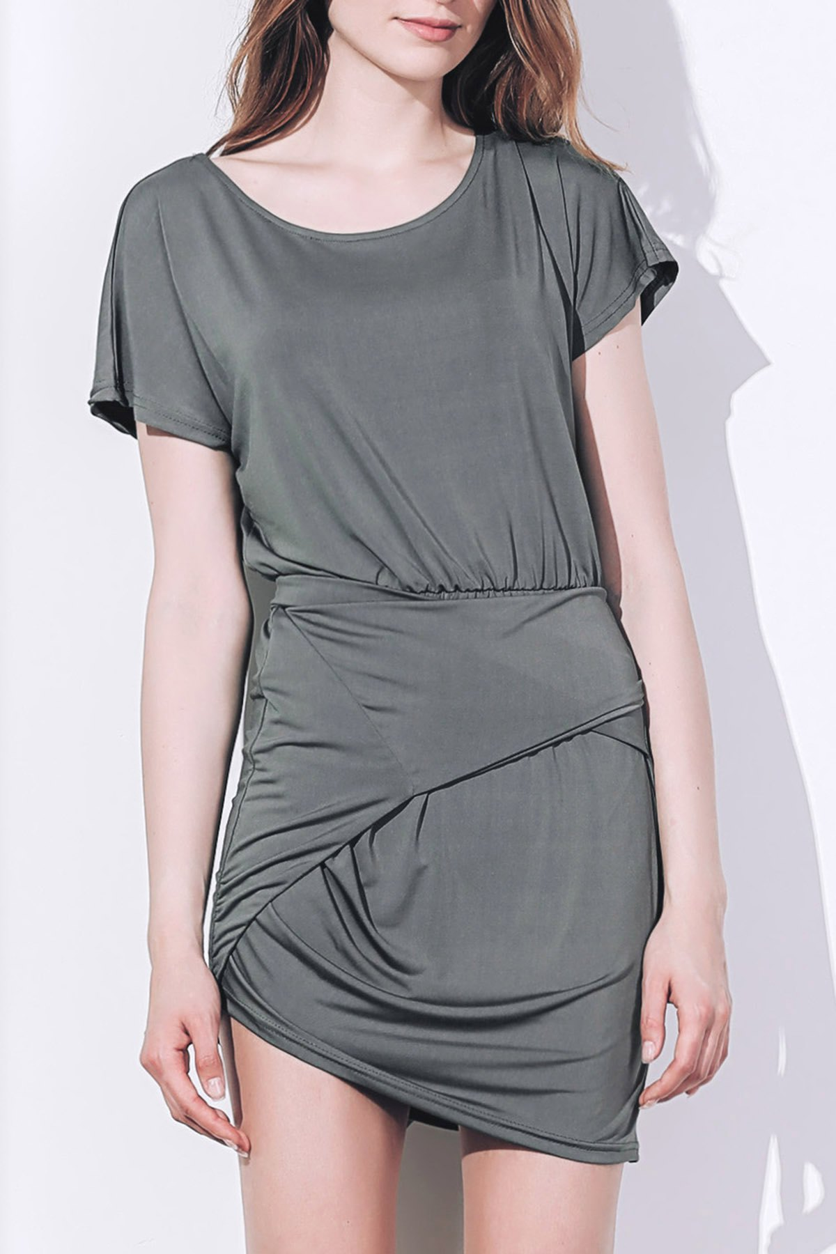 Sexy Short Sleeve Scoop Neck Asymmetrical Women's Dress - BATTLESHIP GRAY M