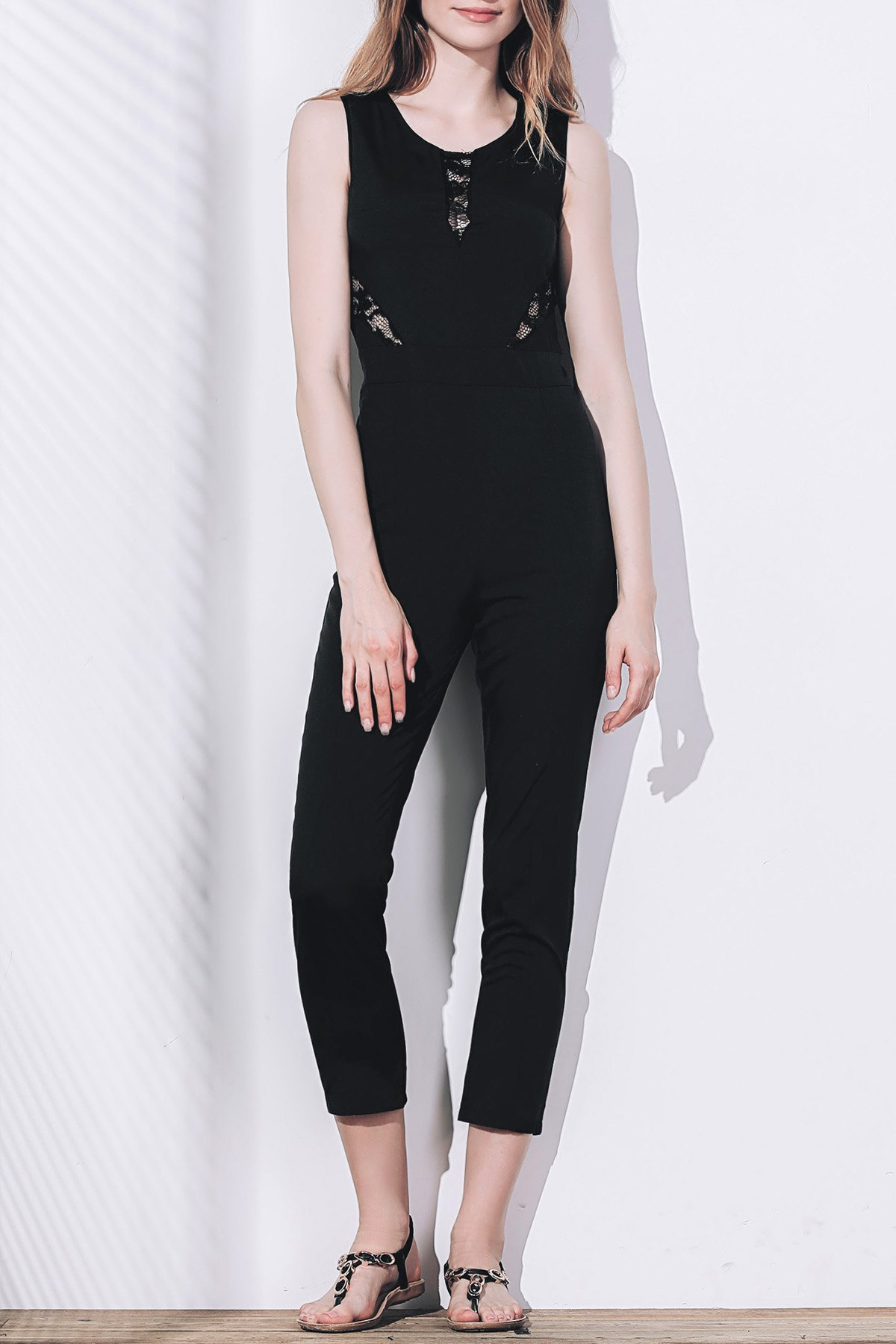 Stylish Women's Round Collar Sleeveless Lace Spliced Jumpsuit
