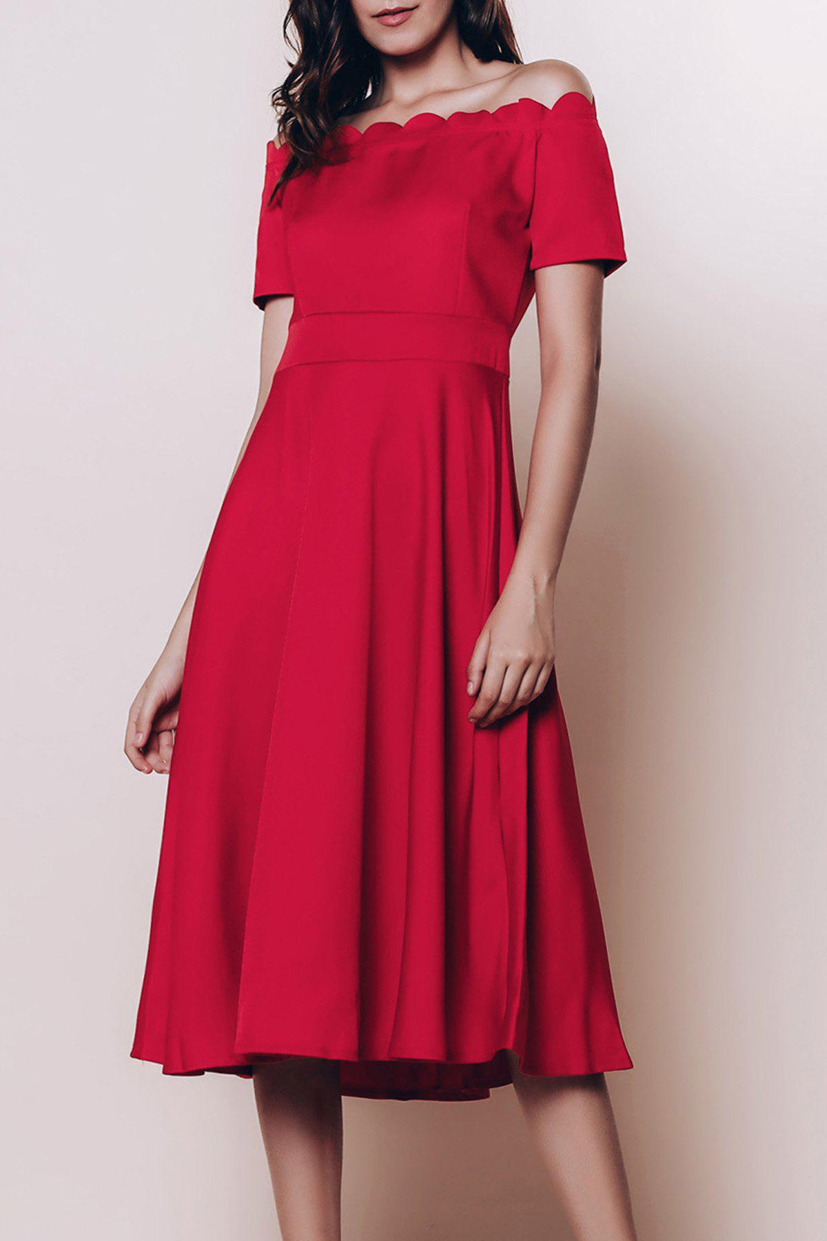 Vintage Women's Off The Shoulder Short Sleeve Solid Color Flare Dress - RED S