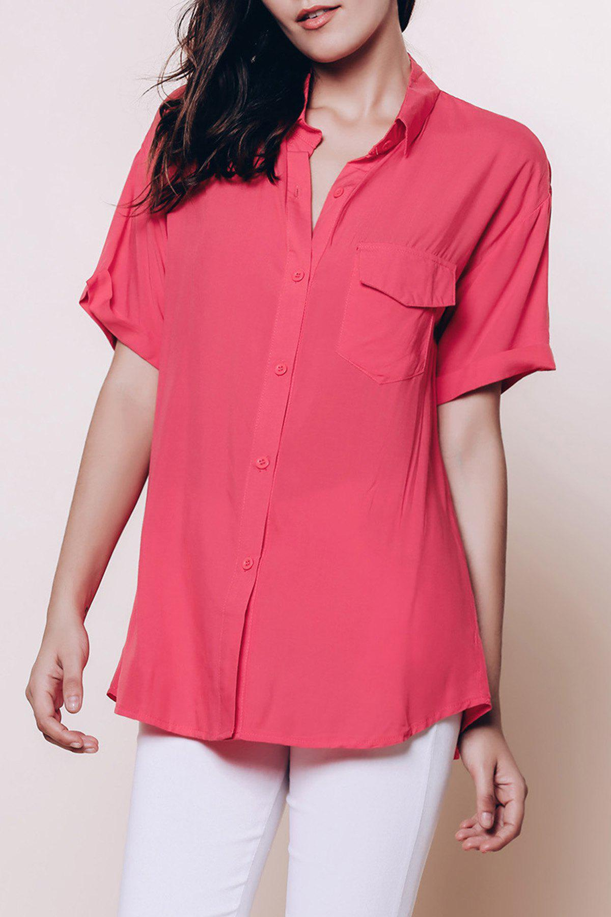Chic Short Sleeve Pure Color Shirt For Women - BRICK RED M