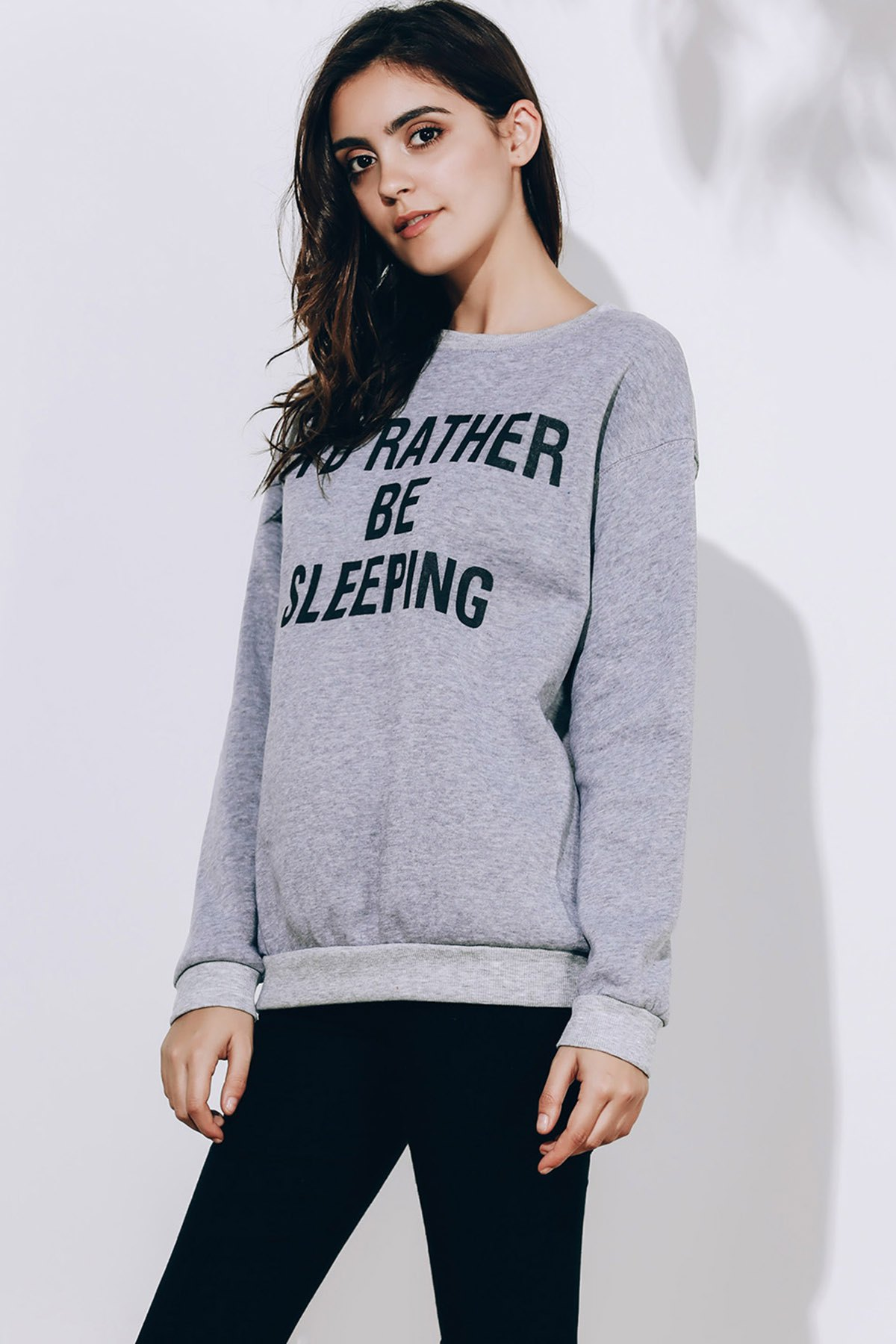 Long Sleeve Round Neck Letter Pattern Sweatshirt For Women - GRAY S