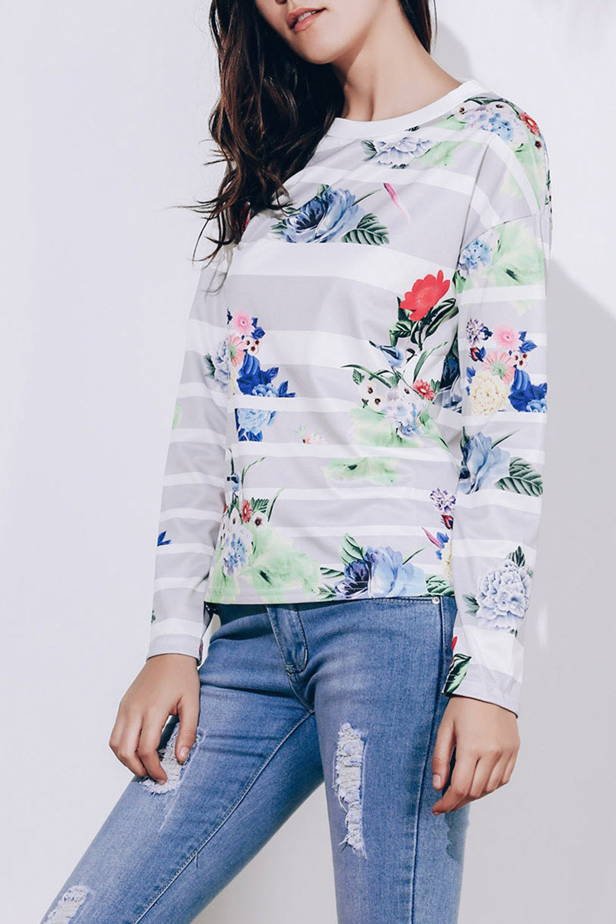 Attractive Striped Colorful Printed Long Sleeve T-Shirt For Women - GRAY M