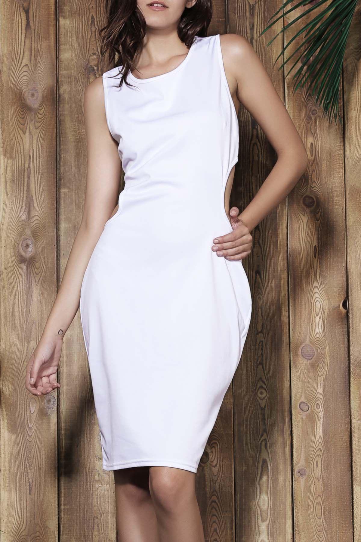 Alluring Scoop Neck Sleeveless Cut Out Solid Color Women's Dress 159400401
