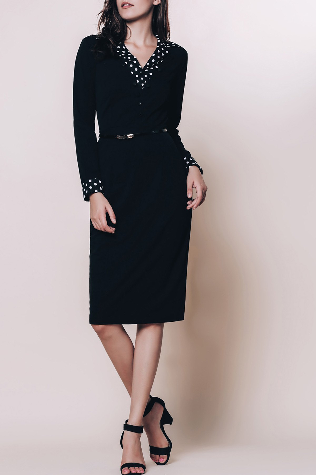 OL Style Long Sleeve Turn-Down Collar Polka Dot Spliced Women's Pencil Dress