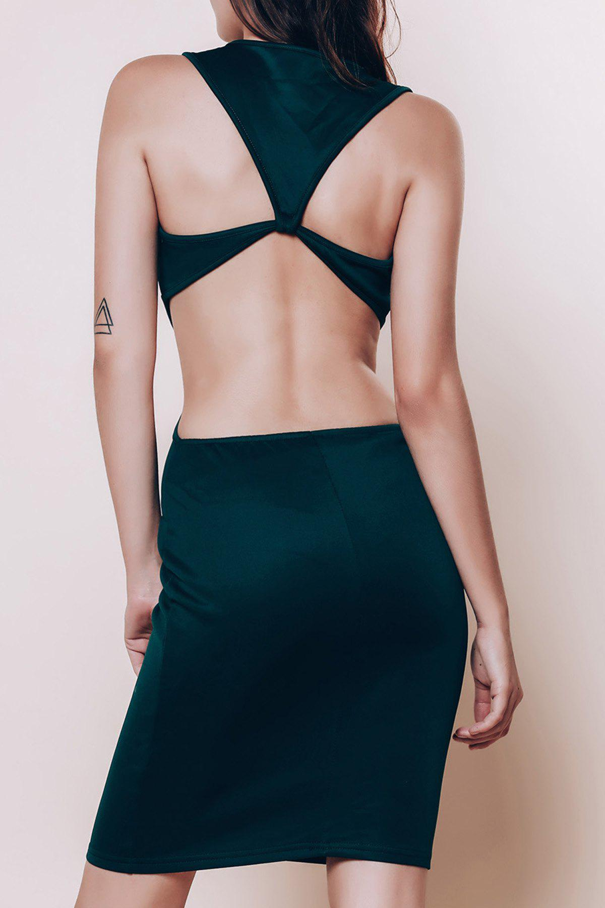 Alluring Scoop Neck Sleeveless Cut Out Solid Color Women's Dress 159400403