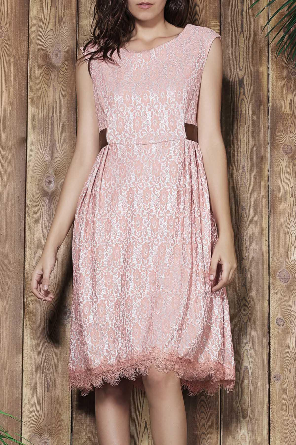Vintage Style Sleeveless Scoop Neck Pink Lace Women's Ball Gown Dress - PINK L