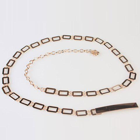 Chic Hollow Rectangle Embellished Women's Alloy Waist Chain - GOLDEN