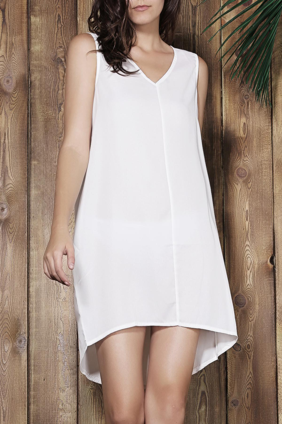 Simple Sleeveless V-Neck Loose-Fitting Women's White Dress - OFF WHITE S