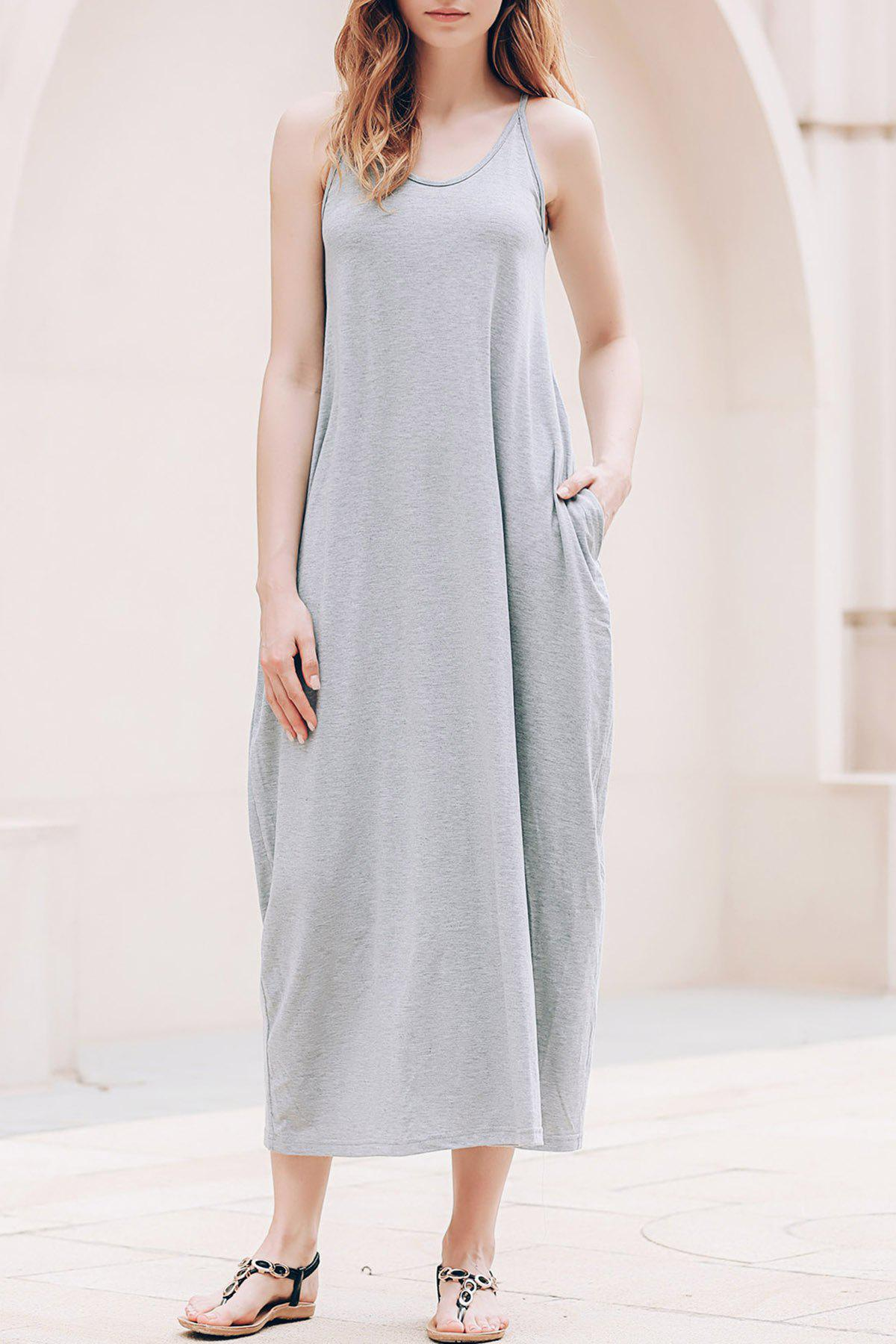 Stylish Spaghetti Strap Solid Color Pocket Design Women's Dress - GRAY S