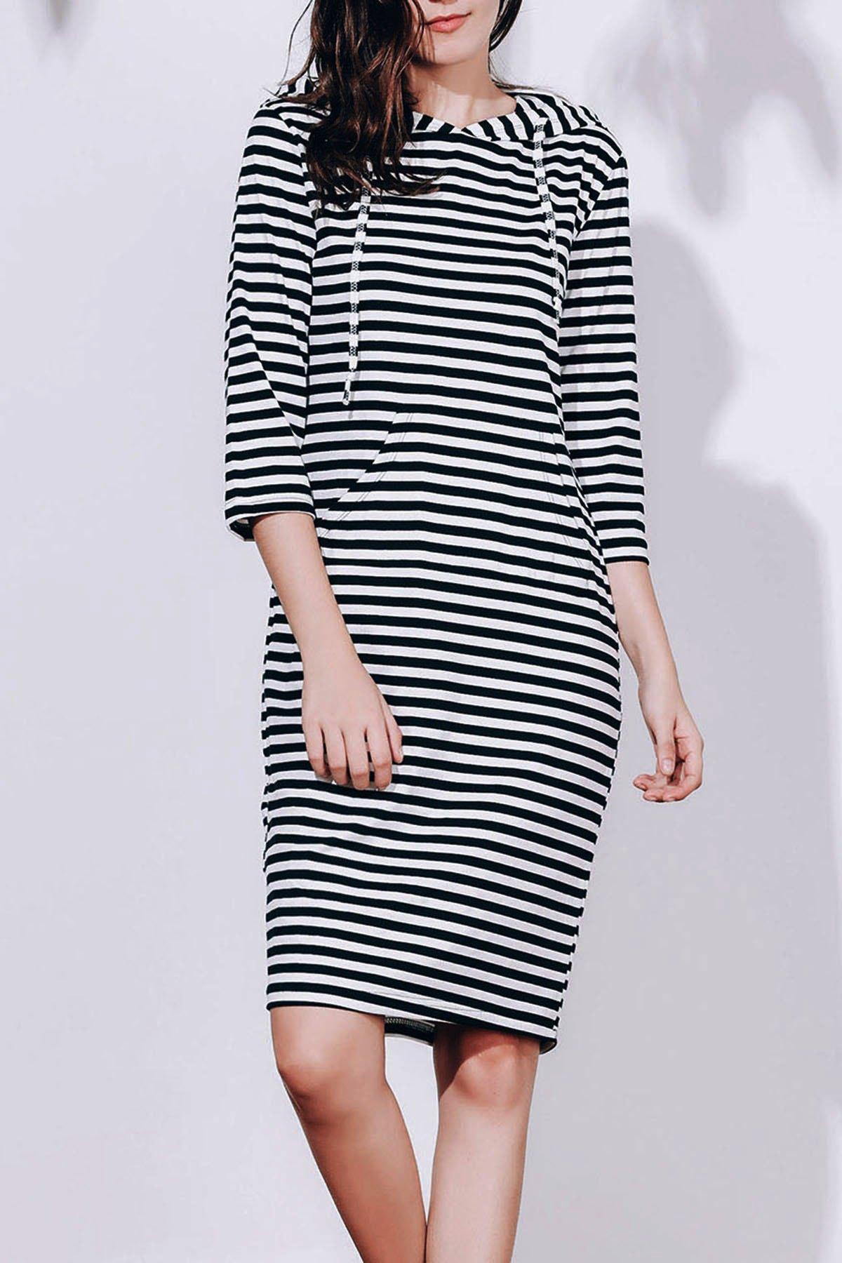 Attractive Striped Hooded 3/4 Sleeve Bodycon Hoodie Dress For Women - BLACK S