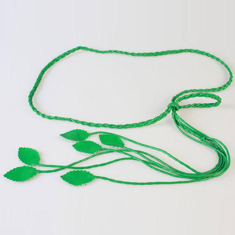 Chic Women's Leaves Pendant Candy Color Weaving PU Waist Rope - GREEN