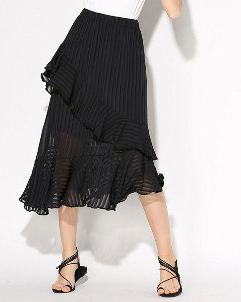 Sweet Solid Color Asymmetric Flounce Women's Skirt - BLACK ONE SIZE(FIT SIZE XS TO M)