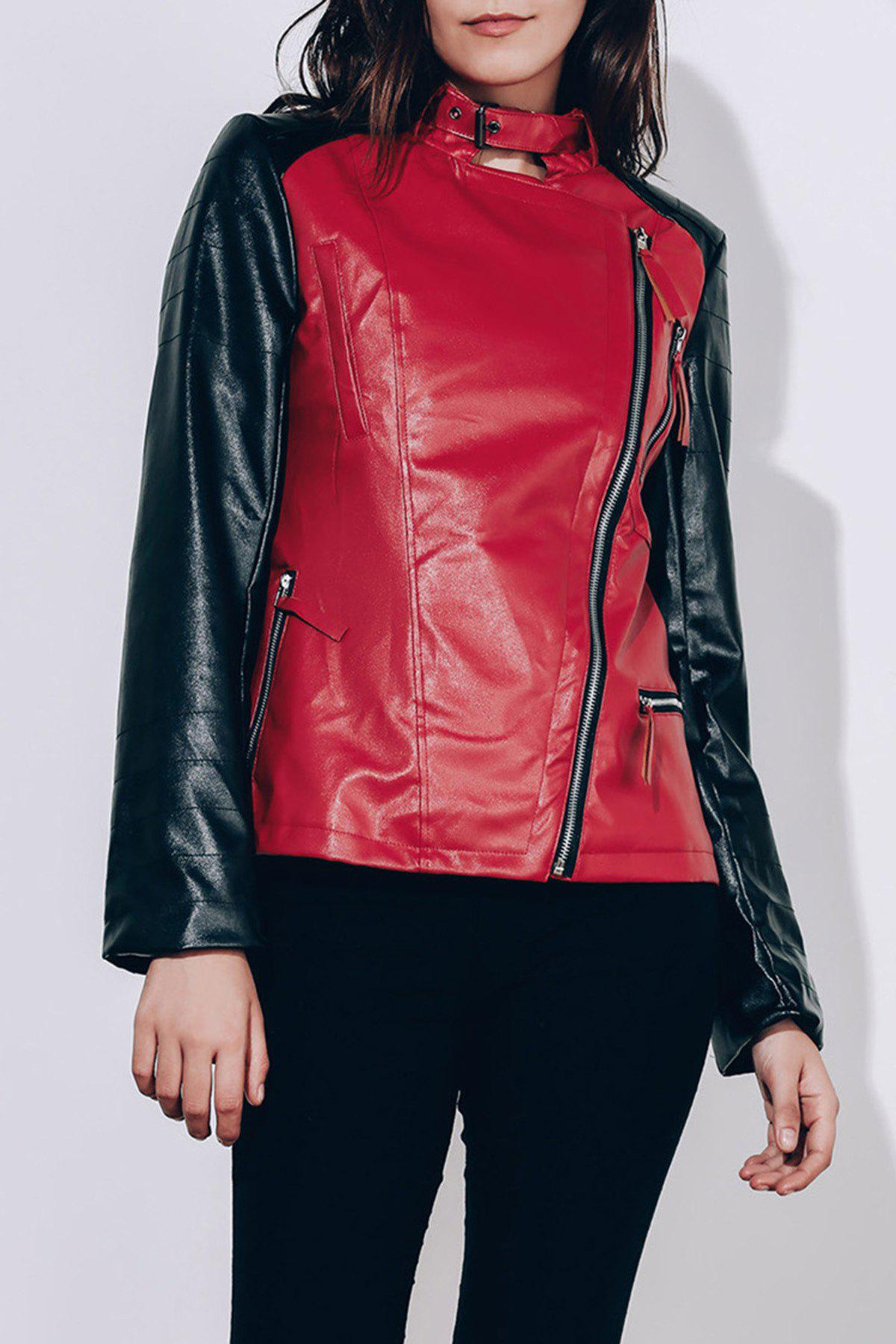Women's Turn-Down Collar Splicing Pure Color Long Sleeve PU Jacket - S WINE RED