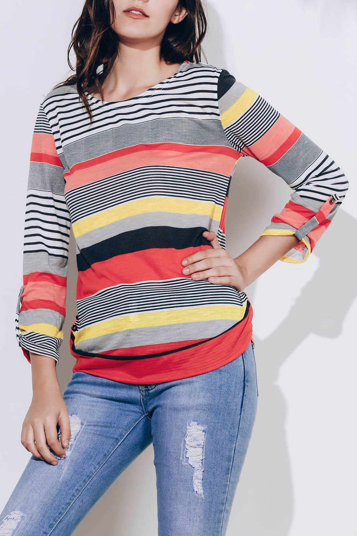 Casual Scoop Neck 3/4 Sleeve Striped Loose-Fitting Women's T-Shirt - RED S
