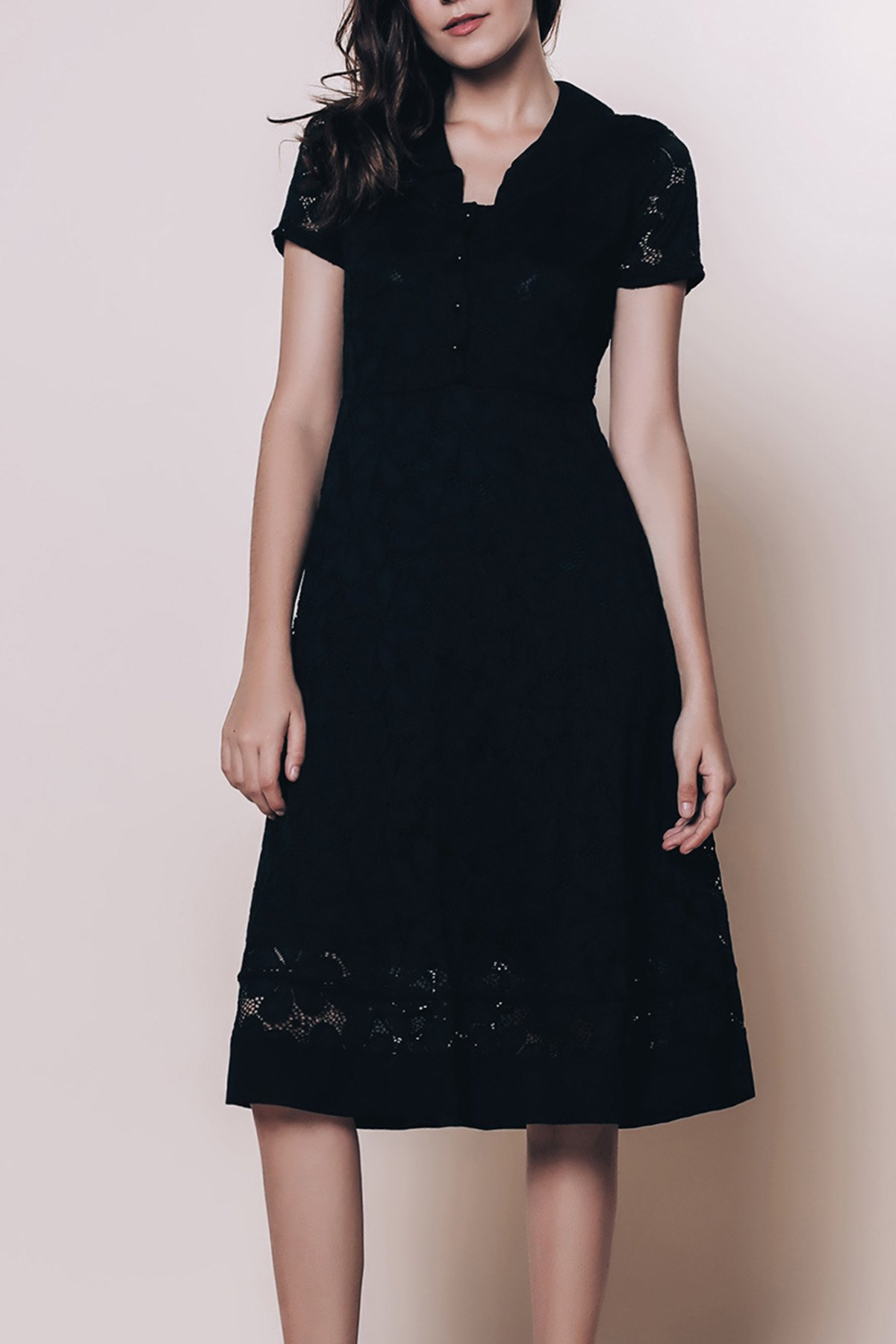 Vintage Style Short Sleeve V-Neck Lace Women's Black Dress - BLACK L