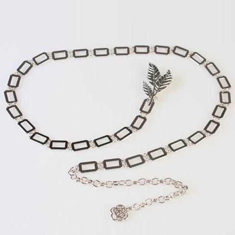 Chic Hollow Rectangle Leaf Shape Hasp Women's Alloy Waist Chain - SILVER