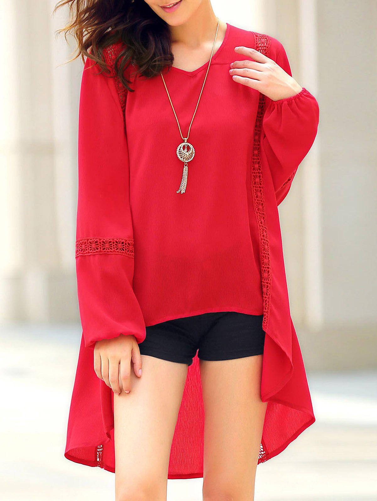 Trendy Long Sleeve Red Asymmetrical Blouse For Women - RED L