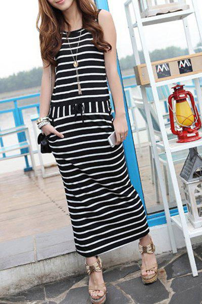 Casual Scoop Neck Sleeveless Striped Women's Dress - BLACK M