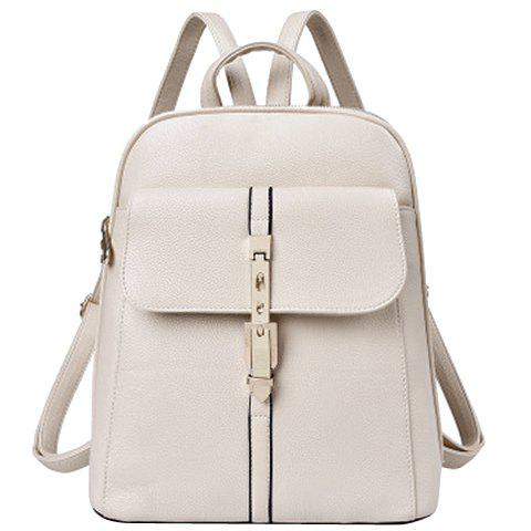Preppy Style Solid Color and PU Leather Design Women's Satchel - OFF WHITE