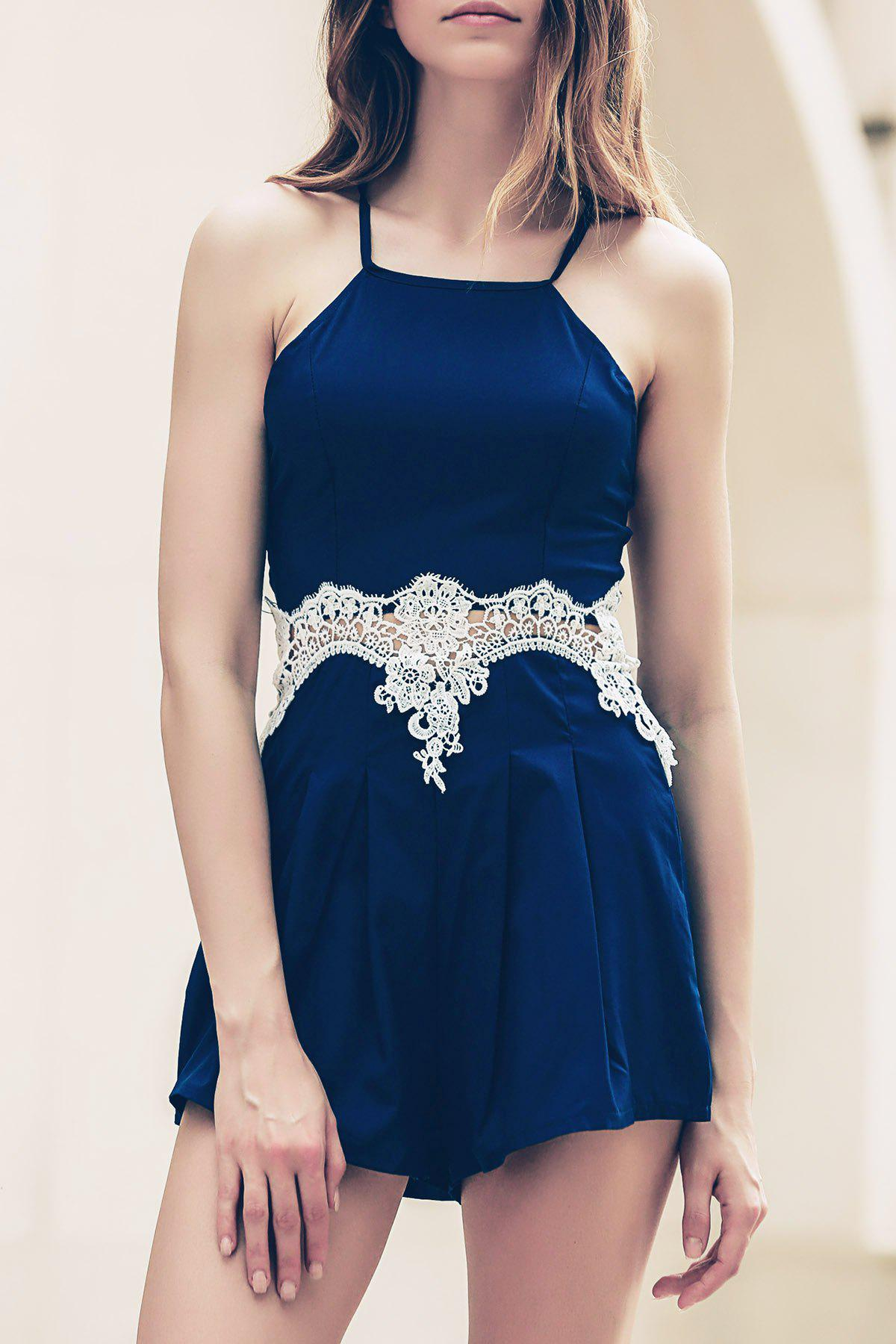 Strappy Lace Insert Zippered Romper - CADETBLUE S