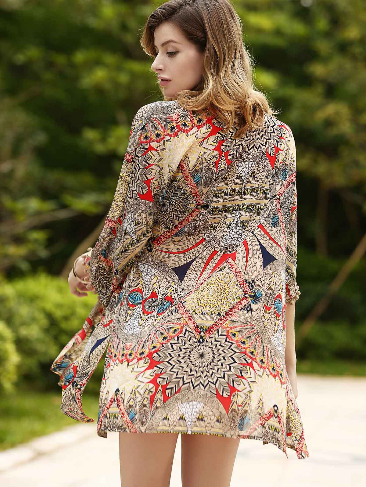 Trendy Ethnic Print Thin Cardigan For Women - COLORMIX M