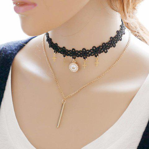 Crown Cross Layered Choker Necklace - GOLDEN