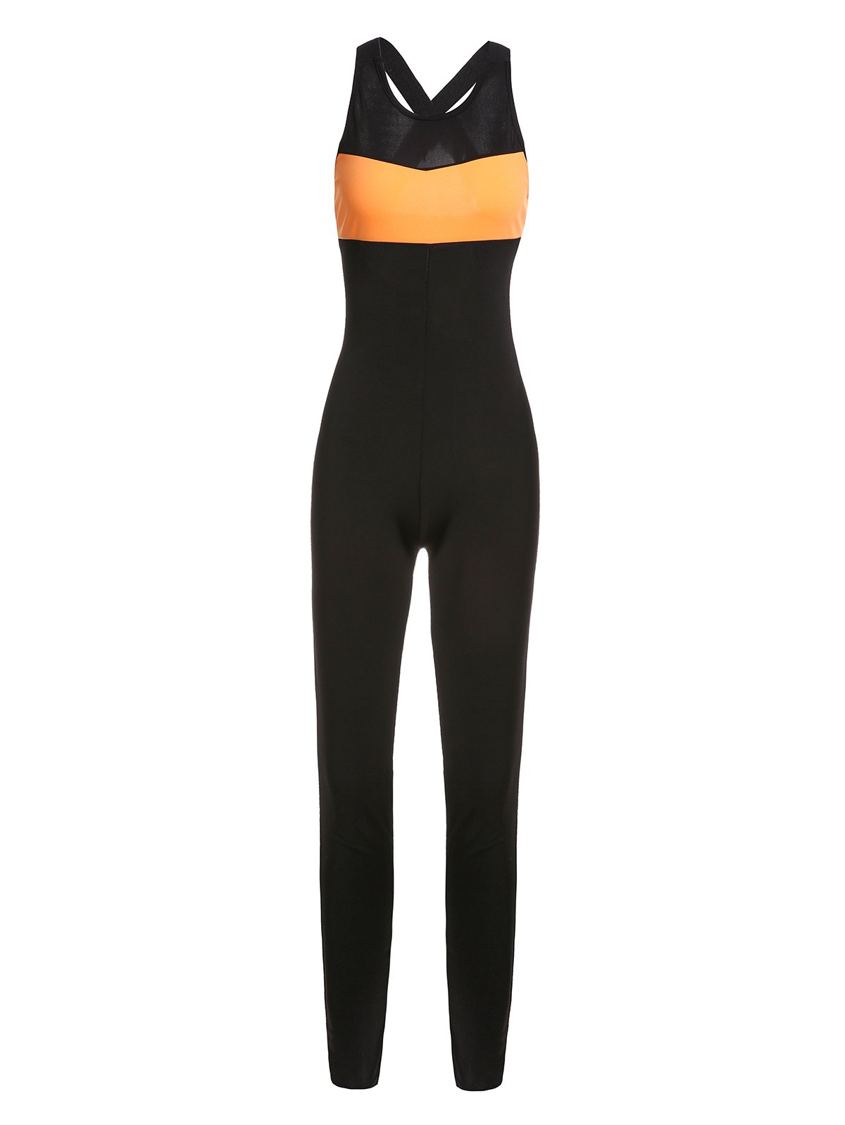 Chic See-Through Hollow Out Sport Jumpsuit For Women - S BLACK