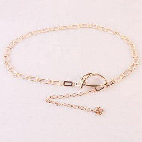 Chic Hollow Rectangle Mathematical Symbol Shape Hasp Women's Alloy Waist Chain - GOLDEN