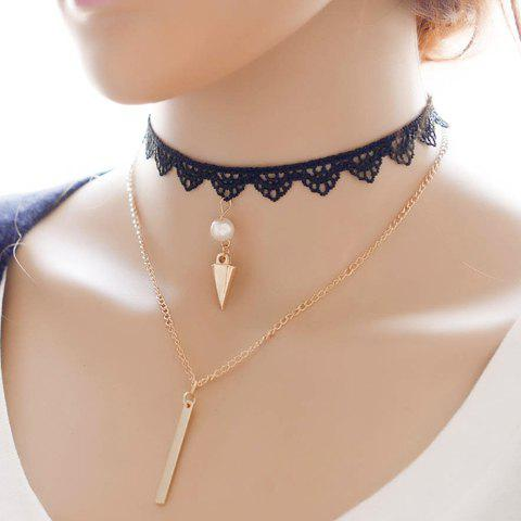 Layered Fake Pearl Rivet Lace Choker