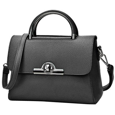 Simple Solid Color and Hasp Design Women's Tote Bag - BLACK